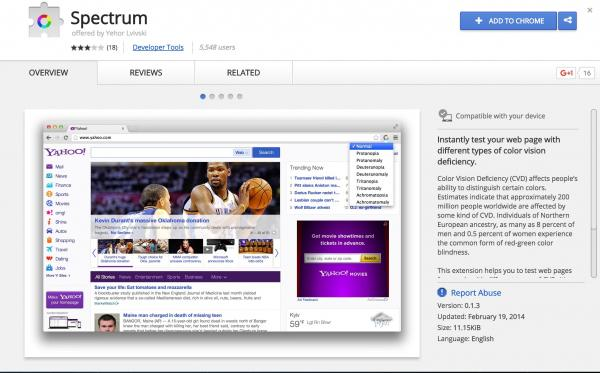 screenshot of spectrum chrome extension page