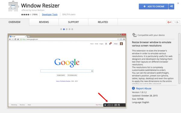 Window Resizer Chrome Extension page