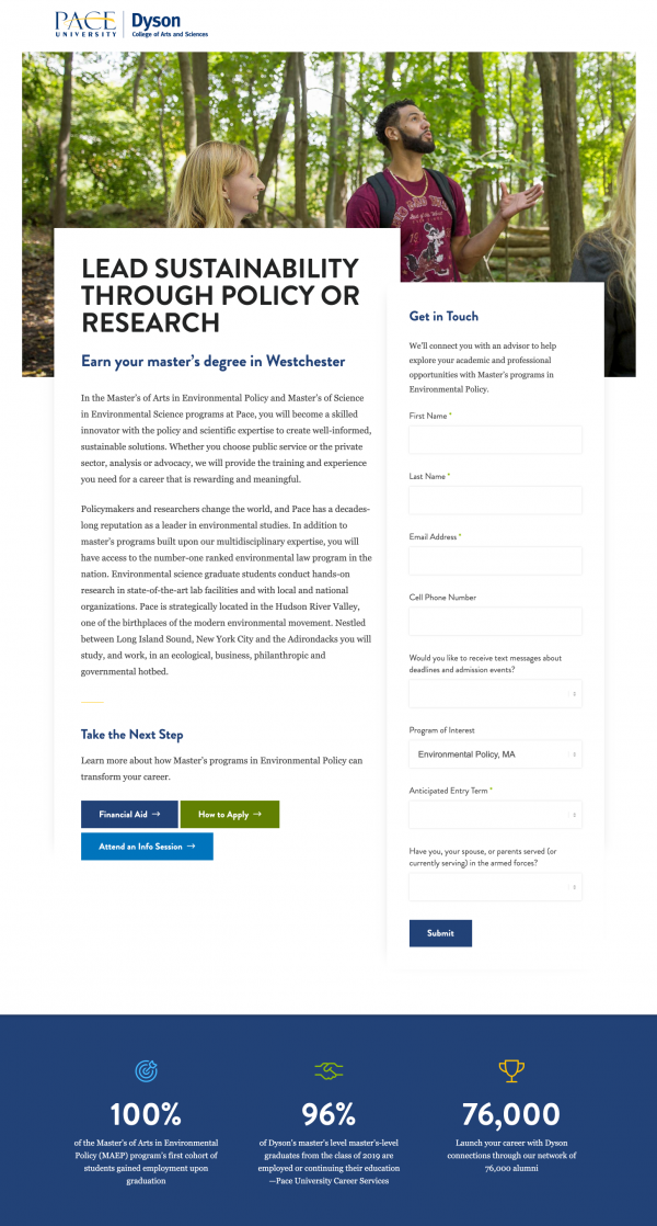 An example of a landing page from Pace University