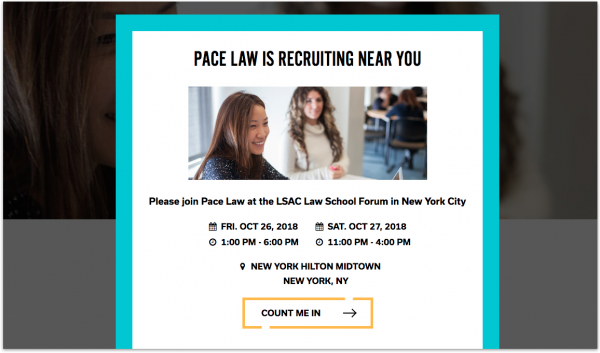 An example of a pop-up from Pace Law School