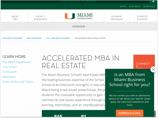 An example of personalized CTAs from Miami Herbert Business School