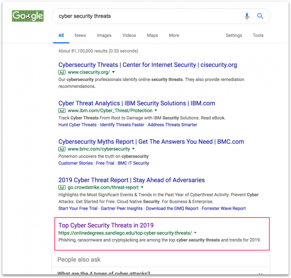 "Google search results for ""Cyber Security Threats"""