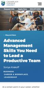 Advanced Management Skills You need to Lead a Productive Team blog post