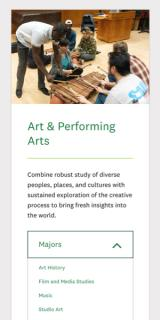 Dartmouth's Art & Performing Arts page displayed on a mobile device