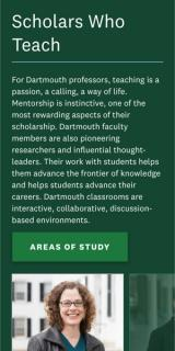 Dartmouth's Scholars Who Teach page displayed on a mobile device