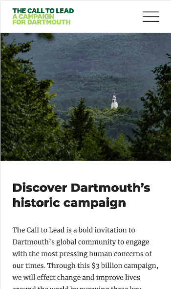 The Dartmouth Call to Lead Campaign page displayed on a mobile device